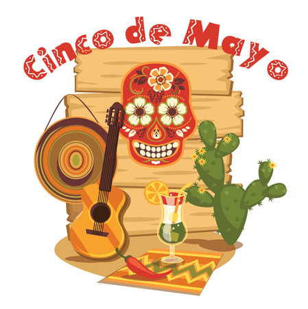 traditional illustration: Cinco de Mayo. Vector illustration with traditional Mexican symbols.