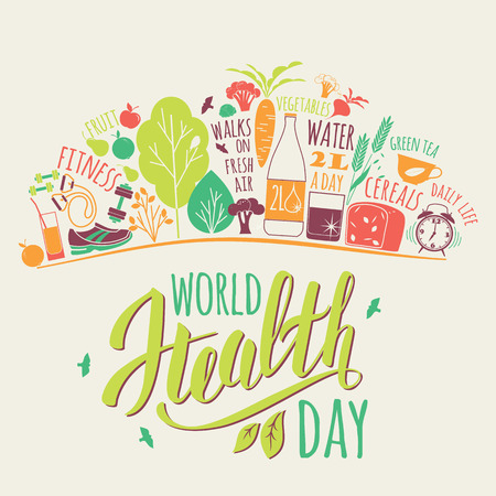 Concepto del día mundial de la salud con la ilustración de estilo de vida saludablemente.
