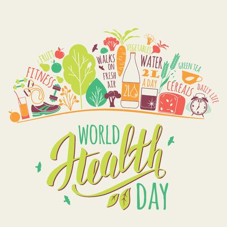 Wereldgezondheidsdag concept met gezonde levensstijl illustratie.