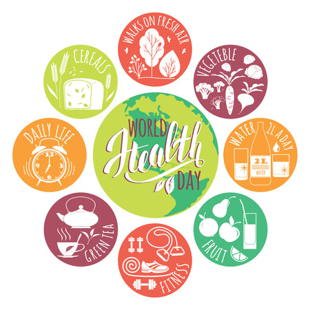 healty lifestyle: World health day concept with healty lifestyle illustration.