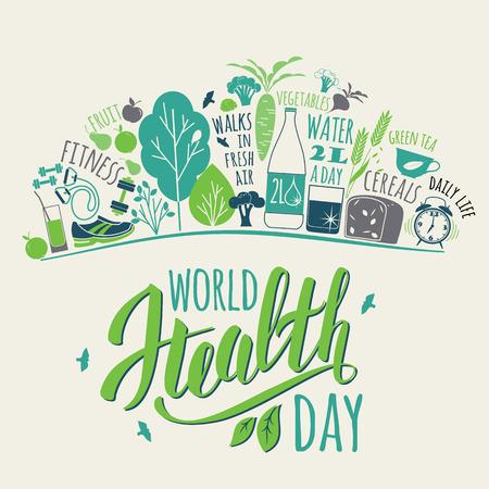 salud: Concepto del día mundial de la salud con la ilustración de estilo de vida saludablemente.