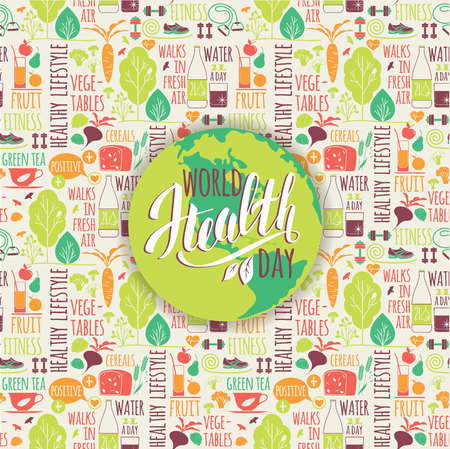 healty: World health day concept with healty lifestyle background. Vector illustration. Illustration
