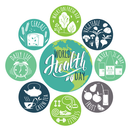 healty: World health day concept with healty lifestyle illustration.