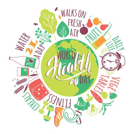 Monde concept de jour de santé avec healty mode de vie illustration.