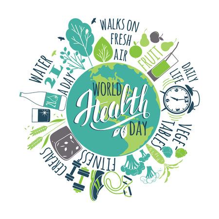 Concepto del día mundial de la salud con la ilustración de estilo de vida saludablemente. Ilustración de vector