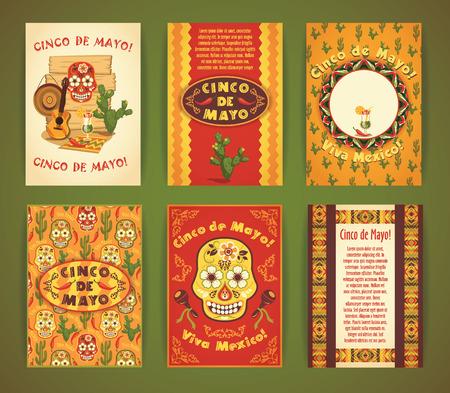 Cinco de Mayo。大套传染媒介模板与传统墨西哥标志。格式A4。