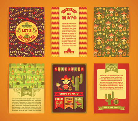Cinco de Mayo. Big set of vector templates with traditional Mexican symbols. Format A4.