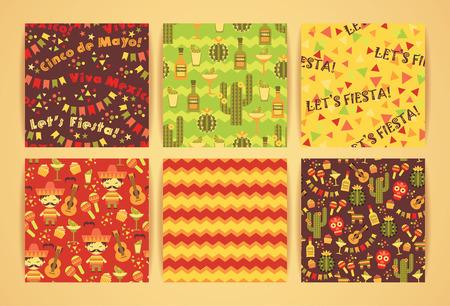 caballo bebe: Set of vector seamless patterns with traditional Mexican symbols. Cinco de Mayo. Let s Fiesta! Viva Mexico!