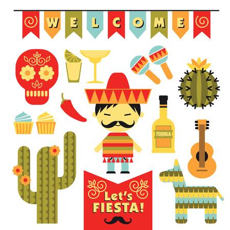 caballo bebe: Conjunto de vectores con símbolos tradicionales de México. Cinco de Mayo. Let 's Fiesta!