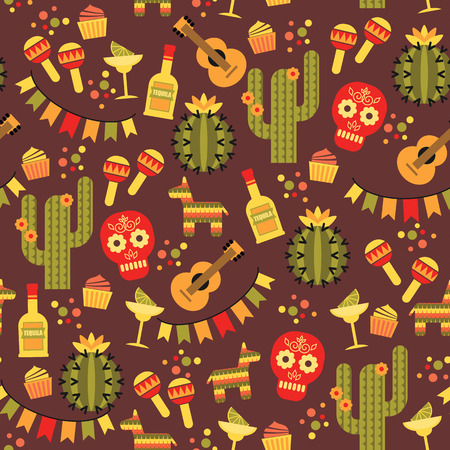 let s: Vector seamless pattern with traditional Mexican symbols. Cinco de Mayo. Let s Fiesta!