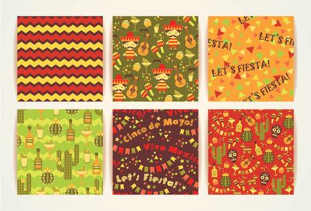 caballo bebe: Conjunto de patrones sin fisuras con los s�mbolos tradicionales de M�xico. Cinco de Mayo. Let 's Fiesta! �Viva Mexico!