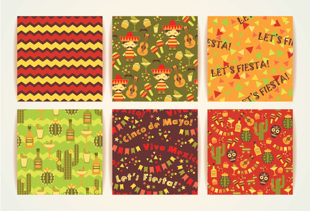 Set of vector seamless patterns with traditional Mexican symbols. Cinco de Mayo. Let s Fiesta! Viva Mexico!