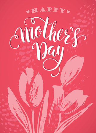 Happy Mothers Day lettering. Mothers day greeting card. Vector illustration. Vettoriali