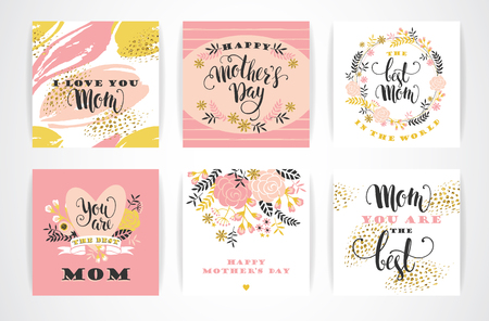 mother's day: Set of Happy Mothers Day lettering greeting cards with Flowers. Vector illustration.