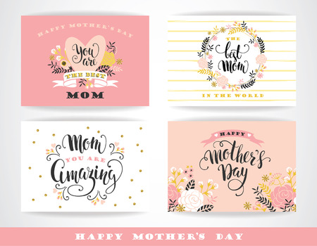 Set of Happy Mothers Day lettering greeting cards with Flowers. Vector illustration.