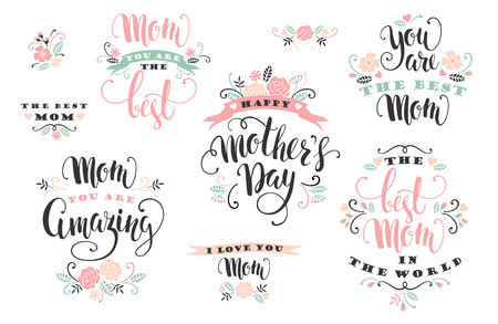 Mothers Day. Lettering design. Vector illustration.