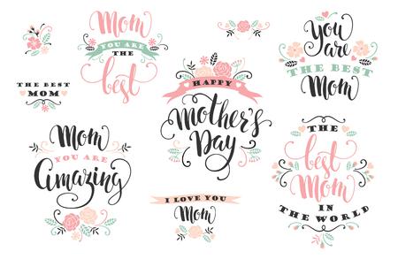 Mothers Day. Lettering design. Vector illustration.