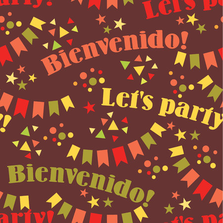 holiday party: Latin American holiday, the June party of Brazil. Flat seamless pattern with symbolism of the holiday Illustration