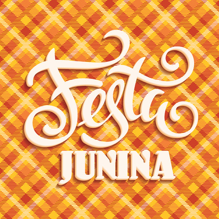 Latin American holiday, the June party of Brazil. Lettering design. Vector illustration