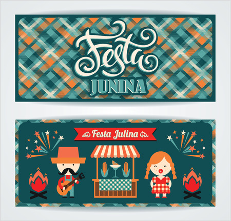 symbolism: Latin American holiday, the June party of Brazil. Set of vector templates with symbolism of the holiday. Illustration