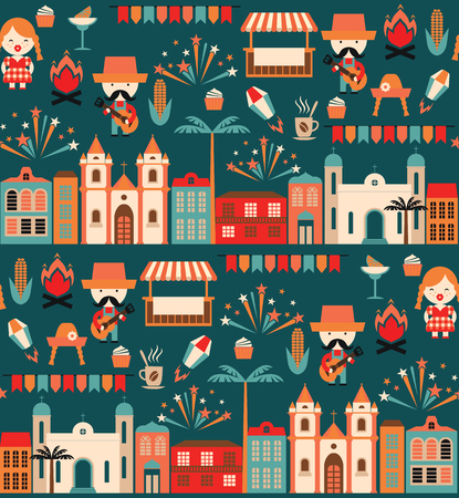 symbolism: Latin American holiday, the June party of Brazil. Flat seamless pattern with symbolism of the holiday Illustration