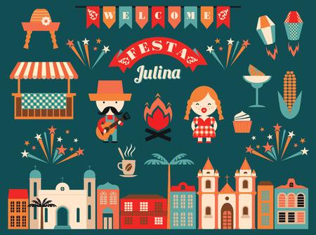 dia y la noche: vacaciones de América Latina, el partido de junio del Brasil. Ilustración plana con el simbolismo de las vacaciones