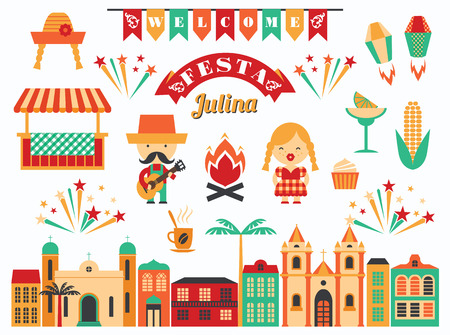 Latin American holiday, the June party of Brazil. Flat illustration with symbolism of the holiday Illustration