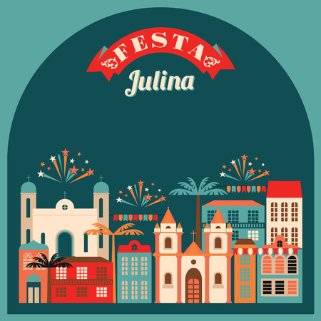 hick: Latin American holiday, the June party of Brazil. Flat illustration with symbolism of the holiday Illustration