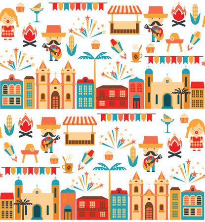 Latin American holiday, the June party of Brazil. Flat seamless pattern with symbolism of the holiday Illustration