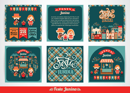 hick: Latin American holiday, the June party of Brazil. Set of vector templates with symbolism of the holiday. Illustration