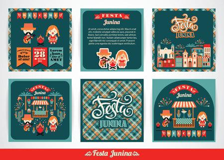Vacances Amérique latine, le parti Juin du Brésil. Ensemble de modèles vectoriels avec le symbolisme de la fête. Banque d'images - 58025004