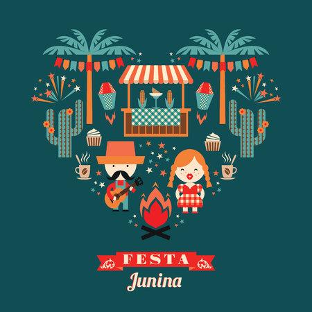 伝統: ラテン アメリカの休日、ブラジルの 6 月パーティー。休日の象徴性とフラットの図
