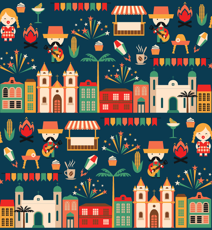 Latin American holiday, the June party of Brazil. Flat seamless pattern with symbolism of the holiday Ilustrace