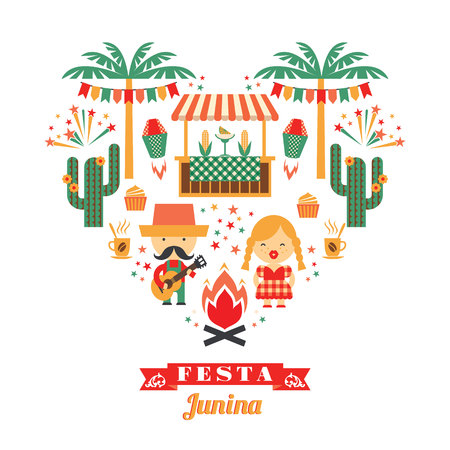 symbolism: Latin American holiday, the June party of Brazil. Flat illustration with symbolism of the holiday Illustration