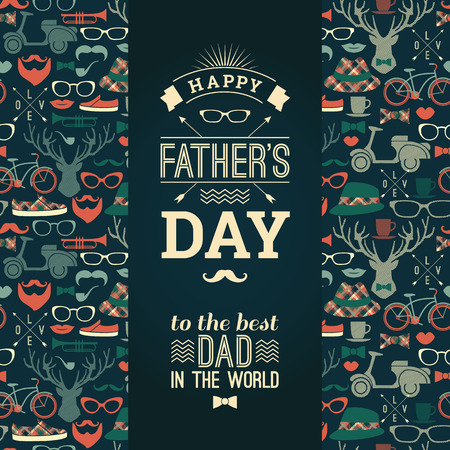 Happy Fathers Day Card In Retro Style. Vector illustration.
