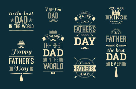 best dad: Happy Fathers Day Design Collection In Retro Style. Vector set.