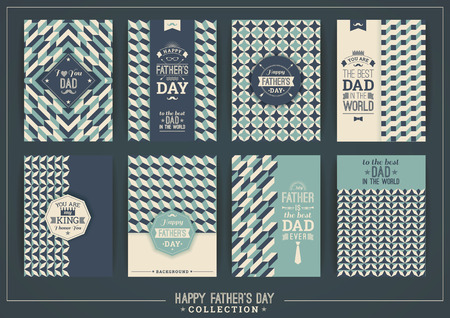 daddy: Happy Fathers Day templates In Retro Style. Vector illustrations.
