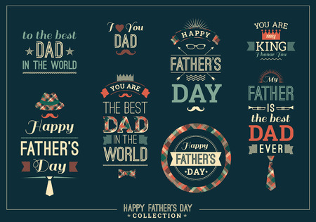 dad: Happy Fathers Day Design Collection In Retro Style. Vector set.