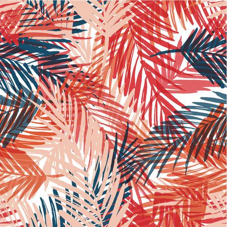 Motif exotique Seamless avec des feuilles de palmier. Vector tirage illustration main Banque d'images - 58867696