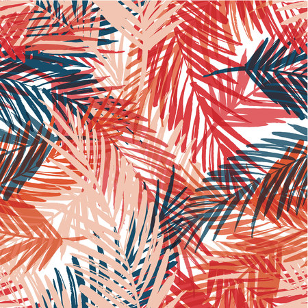 Seamless exotic pattern with palm leaves. Vector hand draw illustration Ilustrace