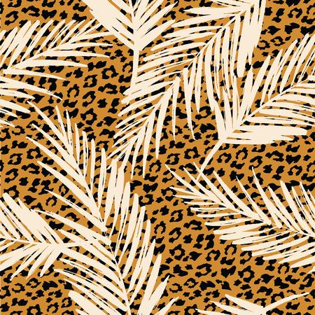 patrón exótica transparente con hojas de palma y el patrón de los animales. Vector ilustración de drenaje de la mano Ilustración de vector