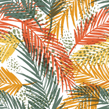 vintage patterns: Seamless exotic pattern with palm leaves. Vector hand draw illustration Illustration