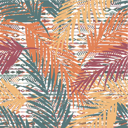 Seamless exotic pattern with palm leaves on ethnic background. Vector hand draw illustration 向量圖像