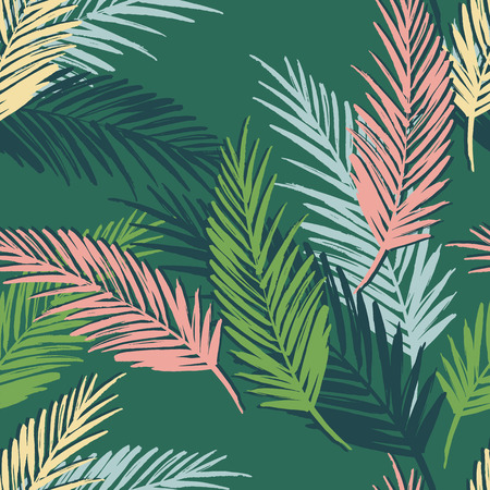 Seamless exotic pattern with palm leaves. Vector hand draw illustration Ilustração