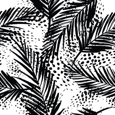 Naadloos exotische patroon met palmbladeren. Vector hand draw illustratie
