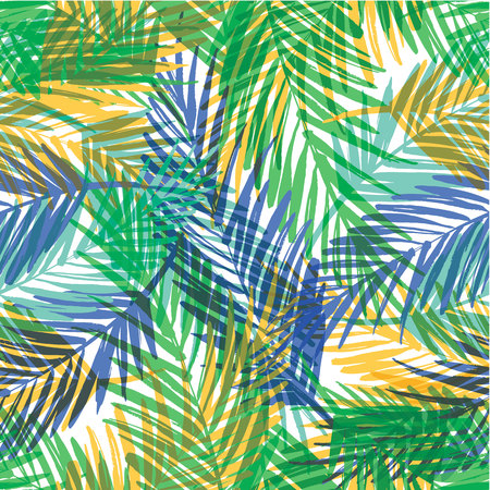 Seamless exotic pattern with palm leaves. Vector hand draw illustration Çizim
