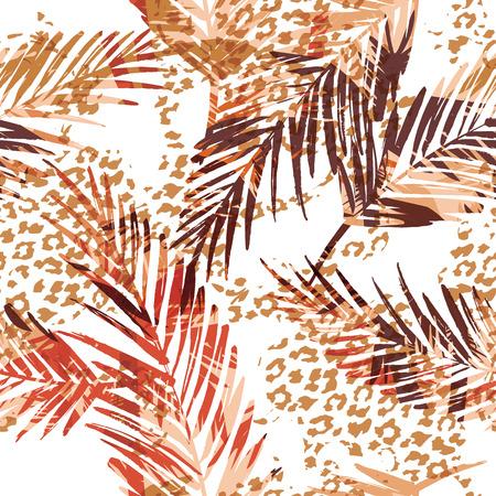 patrón exótica transparente con hojas de palma y el patrón de los animales. Vector ilustración de drenaje de la mano