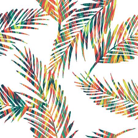 유행: 야자수 잎 원활한 이국적인 패턴입니다. 벡터 손으로 그리는 그림 일러스트