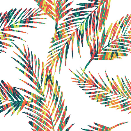 trend: Seamless exotic pattern with palm leaves. Vector hand draw illustration Illustration