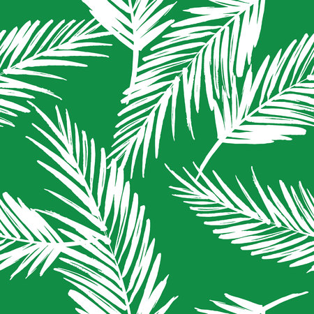 vintage pattern: Seamless exotic pattern with palm leaves . Vector hand draw illustration
